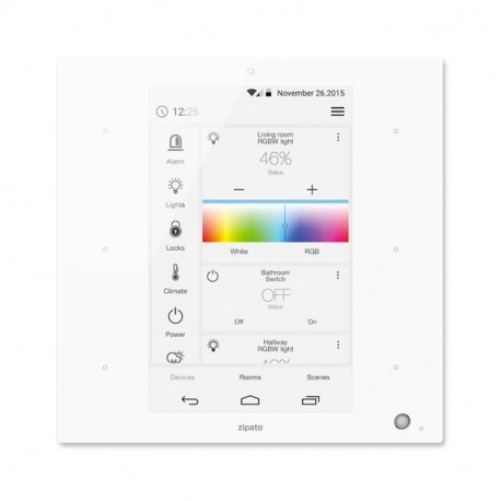 """ZIPATO ZIPATILE Controlador domótico Z-Wave Plus formato mural """"todo-en-uno"""" blanco"""