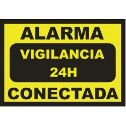 Sign Alarm connected - 24h surveillance - DIN-A5