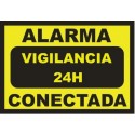 Sign Alarm connected - 24h surveillance - DIN-A5