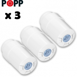 Kit de 3 cabezales termostaticos Popp Z-Wave para radiador