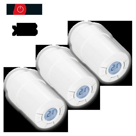 Pack de 3 cabeçotes termostáticos Popp Z-Wave para radiador
