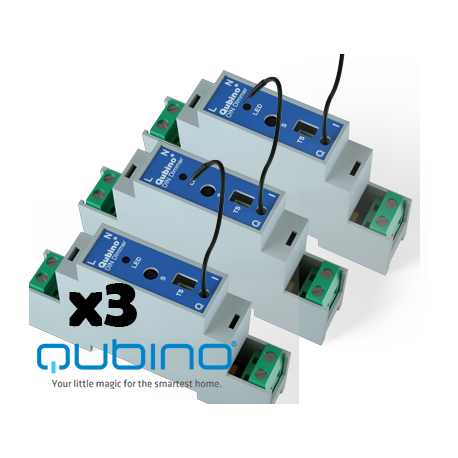 Pack 3xQUBINO Dimmer para carril DIN Z-Wave+