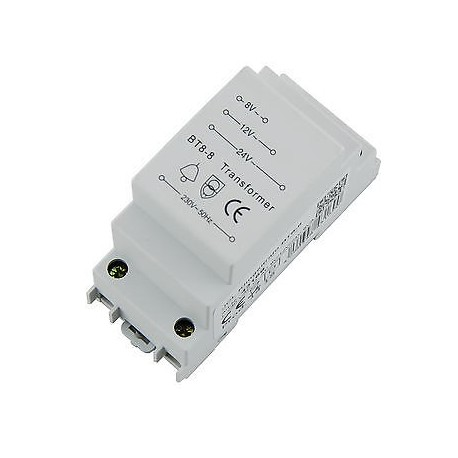 Transformer -trafo- for DIN rail 8V, 12V and 24V AC up to 8VA
