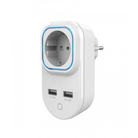 HANK - Enchufe con control de consumo Z-Wave+ con 2 puertos USB