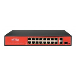 Wi-Tek WI-PS518GV Switch PoE AT-AF 48 V de 16 puertos 10/100 Mbps + 2 puertos 10/100/1000 Mbps + 1 Slot SFP