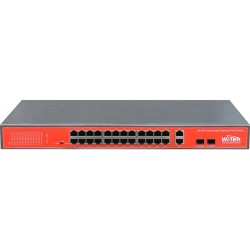 Wi-Tek WI-PS526GV Switch 24 portas PoE AT-AF 48V 10/100 Mbps + 2 portas 10/100/1000 Mbps + 2 Slots SFP