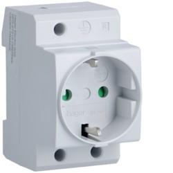 Hager 10 / 16A Schuko DIN rail plug, 2P + E, 230V