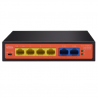 WI-TEK WI-PS205H Switch 6 puertos 10/100 Mbps, 4 PoE