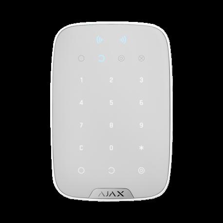 Ajax KeyPad Plus - Teclado táctil inalámbrico compatible con tarjetas y llaveros cifrados sin contacto