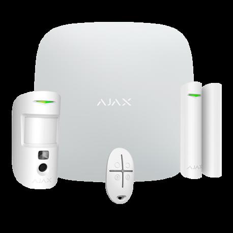 Ajax StarterKit-CAM - - Kit de alarma: panel ethernet y dual SIM GPRS , 1 PIRCAM 1 Contacto magnético y 1 mando