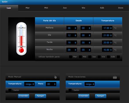 Programación de la temperatura de la calefacción.