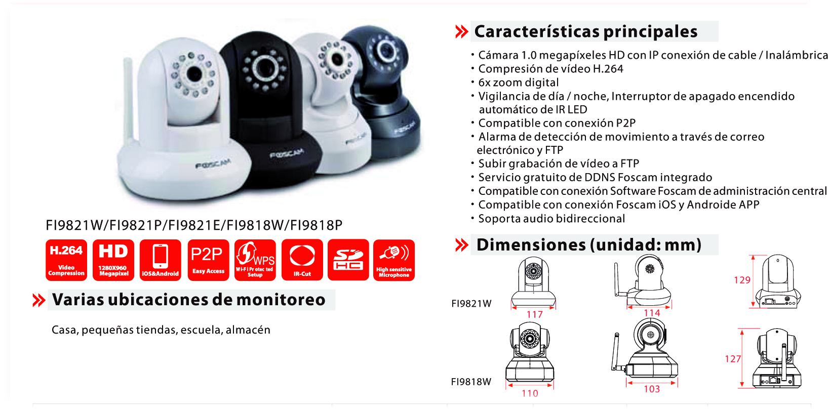 Camara IP FI9821W interior HD