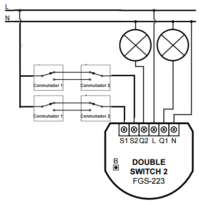 Diagram Connection Fibaro FGS-223 switched