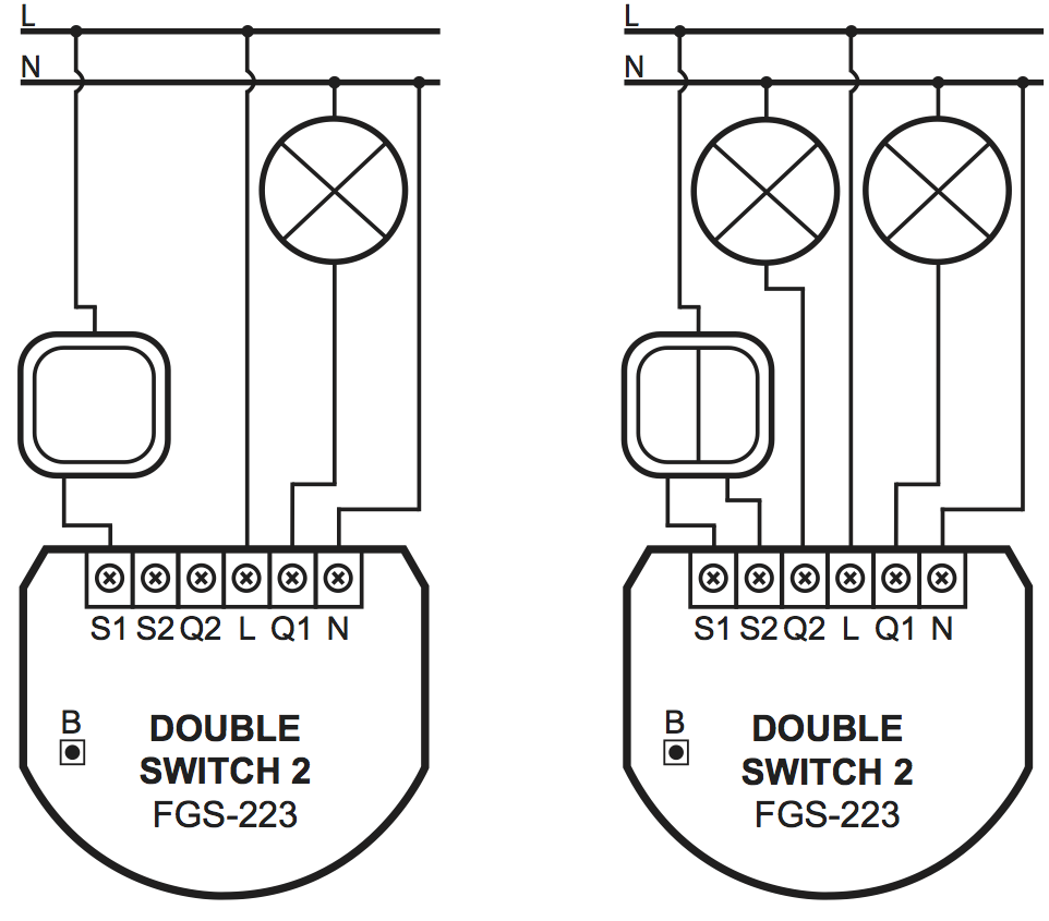 Image of wiring both with 1 and with 2 circuits