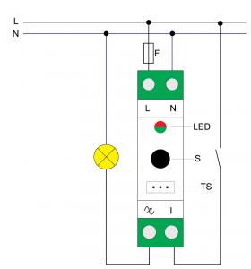 Diagrama de conexão dimmer para trilho DIN