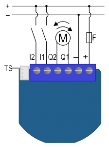 Qubino Flush Shutter DC connection scheme