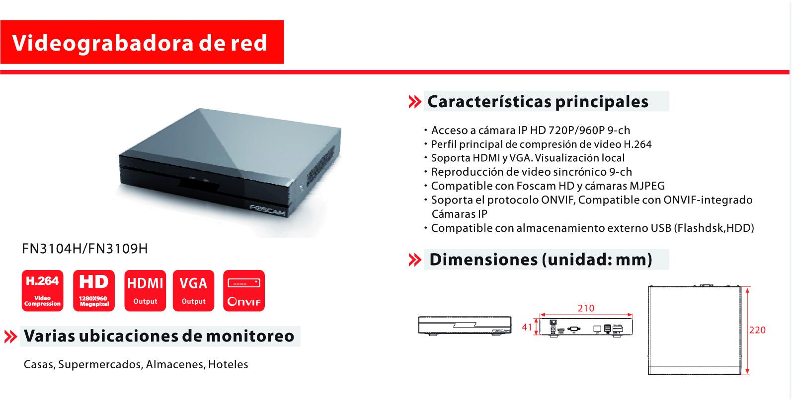 NVR Foscam FN3109H de 9 canales